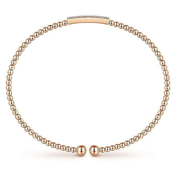 14K Rose Gold Bujukan Bead Cuff Bracelet with Diamonds