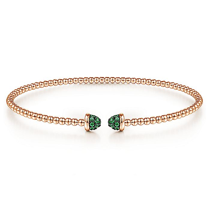 14K Rose Gold Bujukan Bead Cuff Bracelet with Emerald Pavé Caps