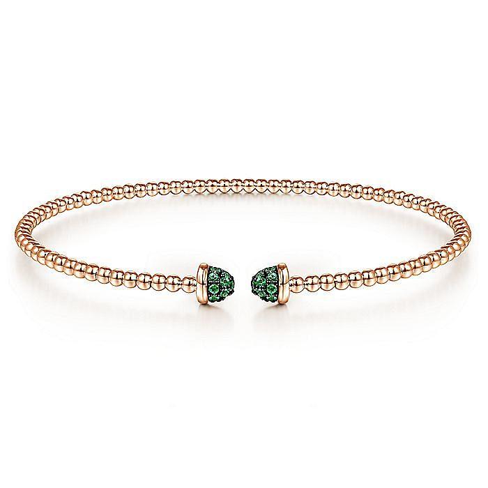14K Rose Gold Bujukan Bead Cuff Bracelet with Emerald Pavé Caps