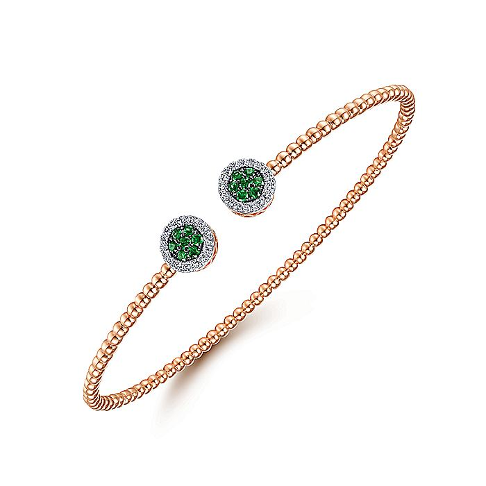14K Rose Gold Bujukan Bead Cuff Bracelet with Emerald and Diamond Halo Caps