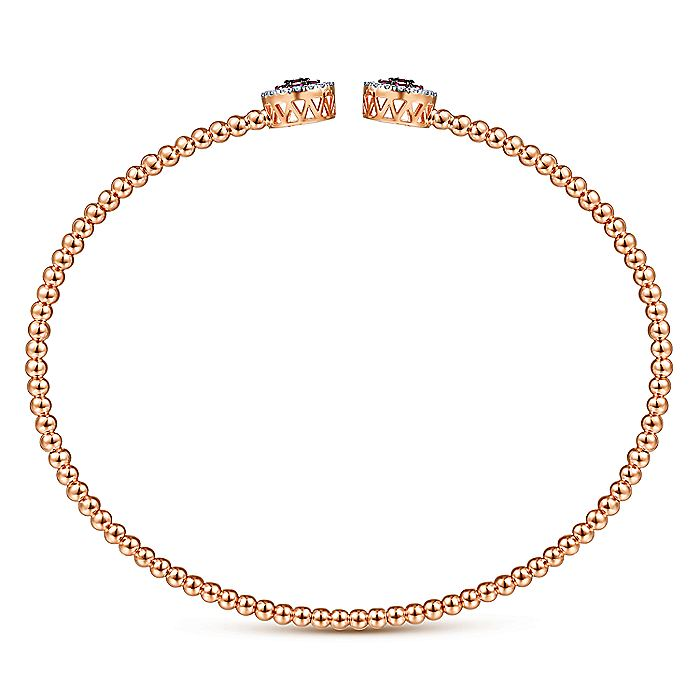 14K Rose Gold Bujukan Bead Cuff Bracelet with Ruby and Diamond Halo Caps