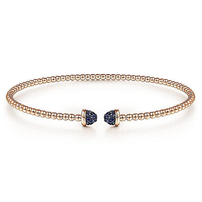14K Rose Gold Bujukan Bead Cuff Bracelet with Sapphire Pavé Caps