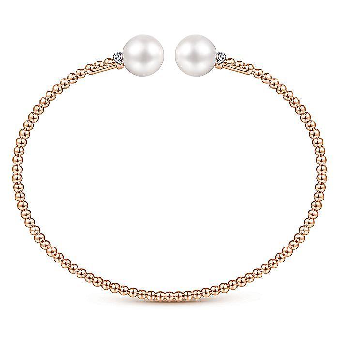 14K Rose Gold Bujukan Bead Split Bracelet with Pearl and Diamond Caps
