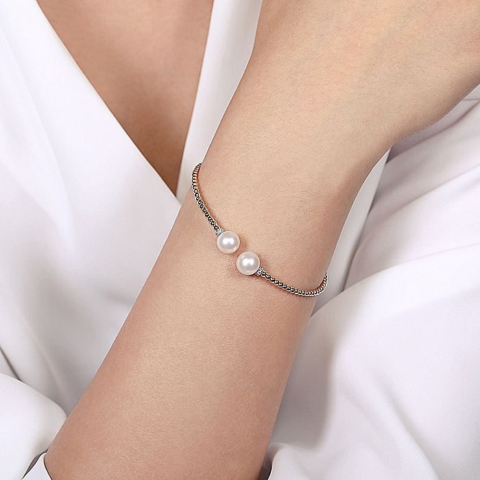 14K Rose Gold Bujukan Bead Split Bracelet with Pearl and Diamond Caps