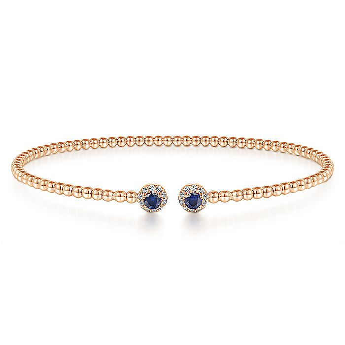 14K Rose Gold Bujukan Bead Split Cuff Bracelet with Sapphire and Diamond