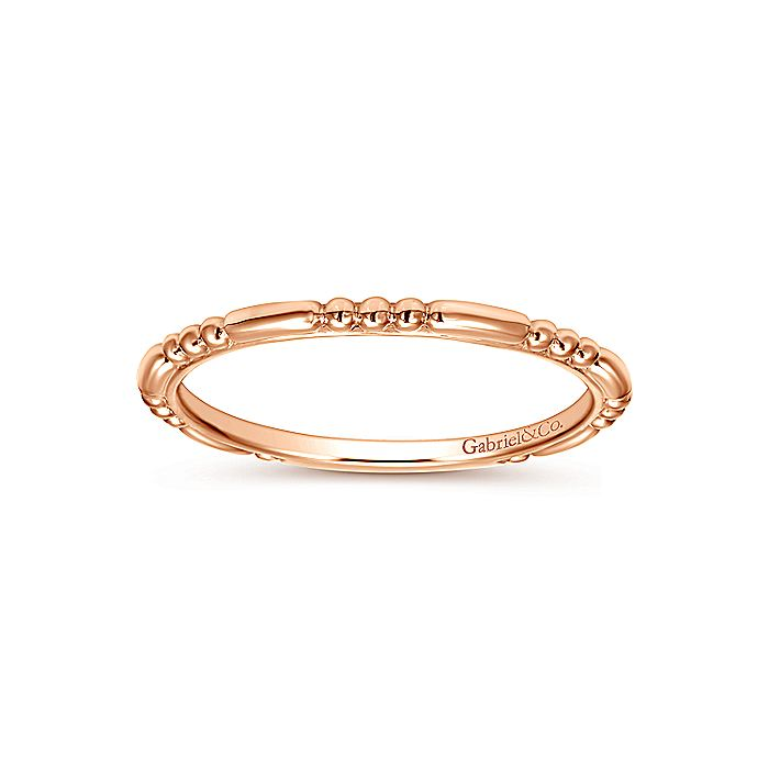 14K Rose Gold Bujukan Bead Station Stackable Ring