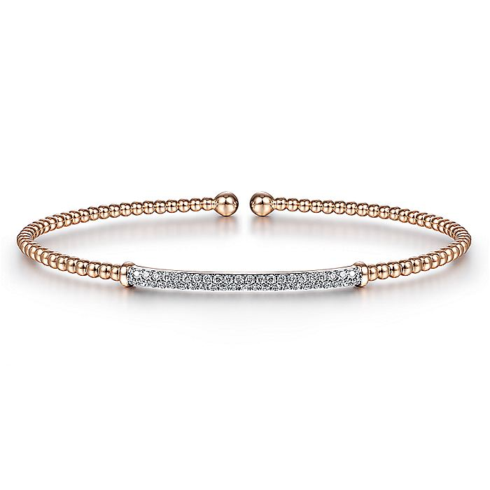 14K Rose Gold Bujukan Split Cuff Bracelet with Diamond Pavé Bar
