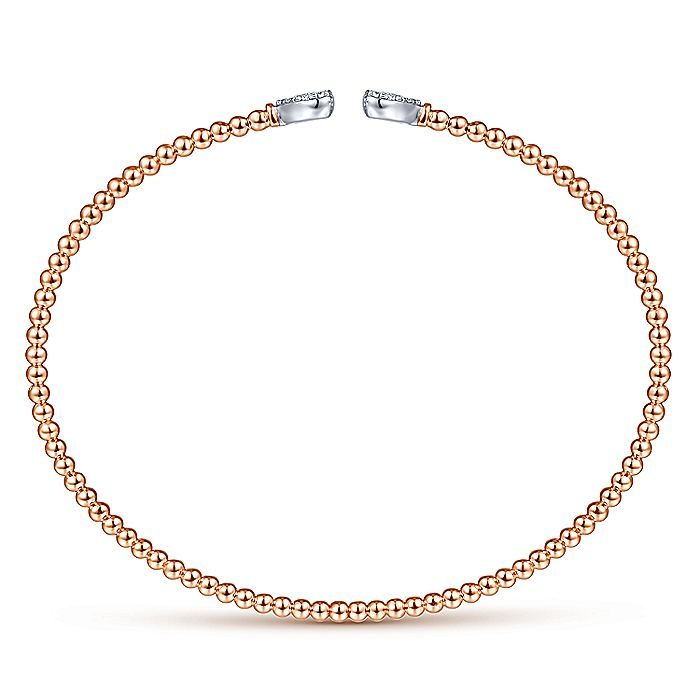 14K Rose Gold Bujukan Split Cuff Bracelet with White Gold Pavé Diamond Hearts