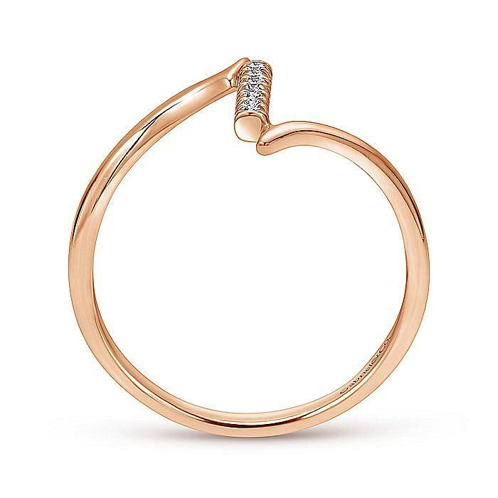 14K Rose Gold Bypass Diamond Column Midi Ring