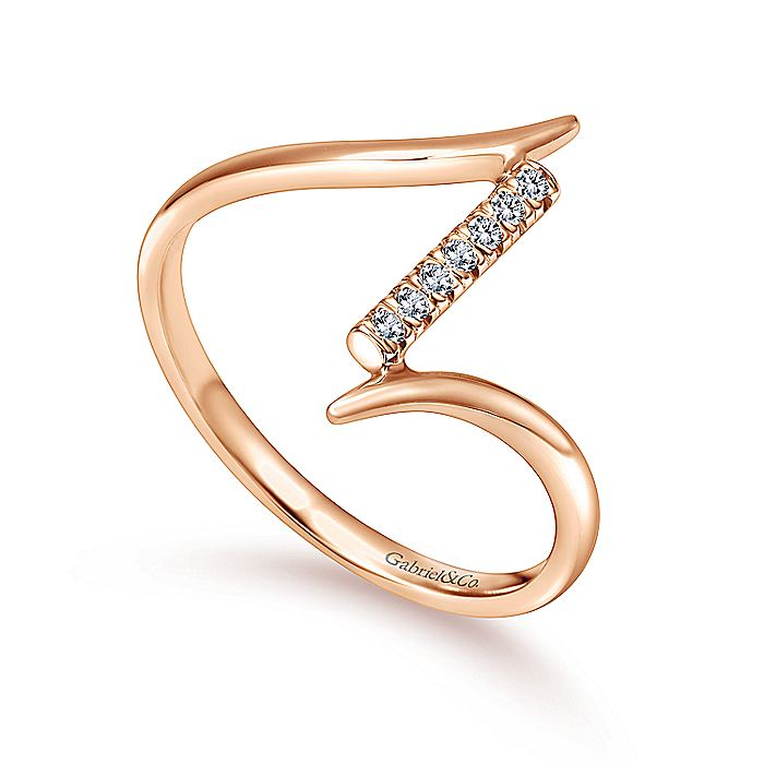 14K Rose Gold Bypass Diamond Column Midi Ring