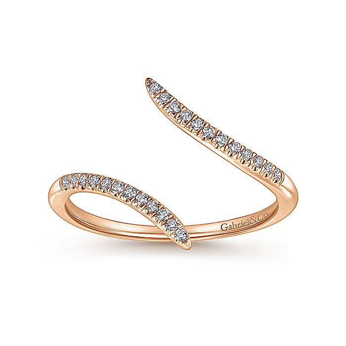 14K Rose Gold Bypass Split Diamond Ring