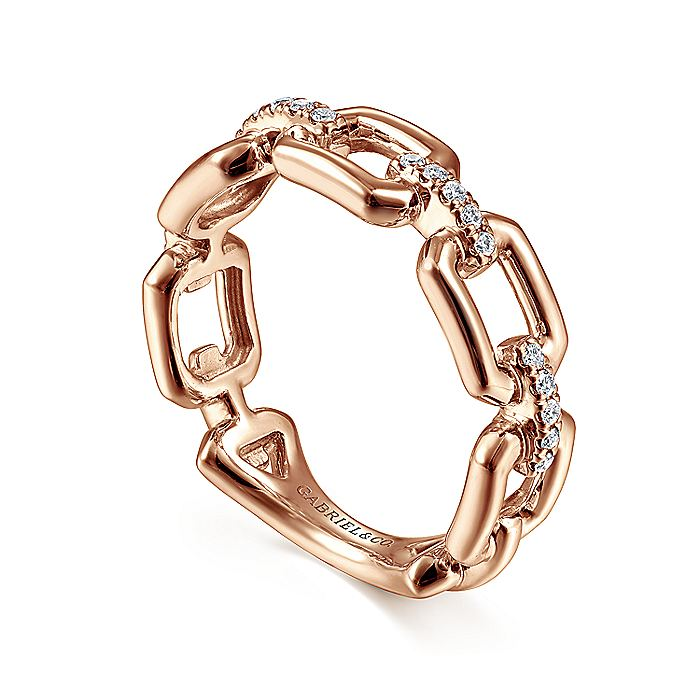 14K Rose Gold Chain Link Ring Band with Diamond Connectors