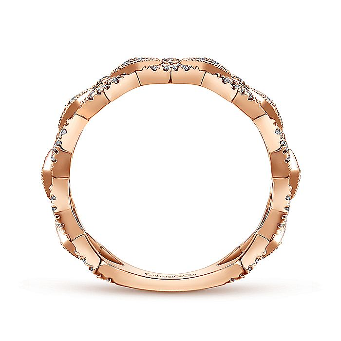 14K Rose Gold Chain Link Stackable Diamond Ring