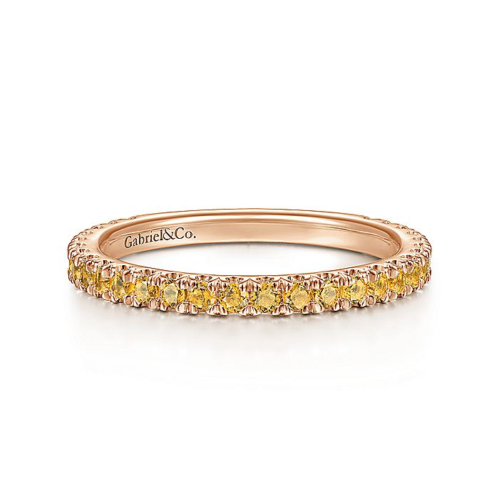 14K Rose Gold Citrine Stackable Ring