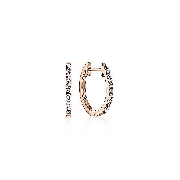 14K Rose Gold Classic 10mm Pavé Diamond Huggies