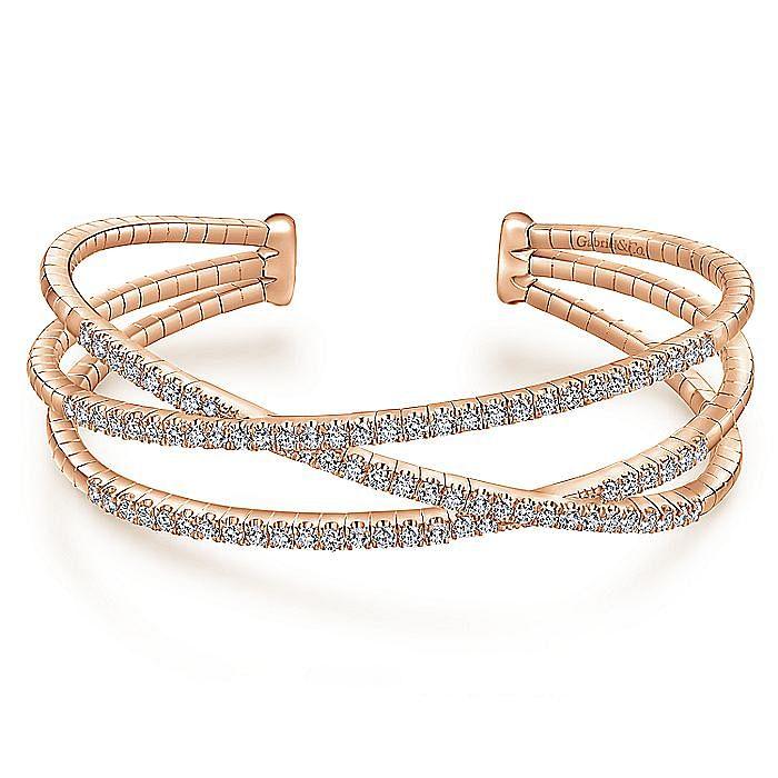 14K Rose Gold Criss Crossing Diamond Cuff