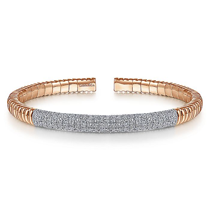 14K Rose Gold Cuff Bangle with Diamond Pavé Center Station