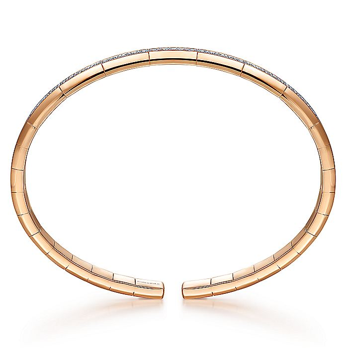14K Rose Gold Cuff Bracelet with Diamond Inner Channel