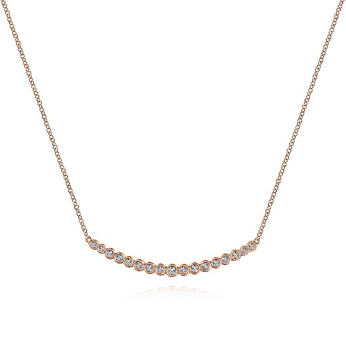 14K Rose Gold Curved Bar Necklace with Bezel Set Round Diamonds