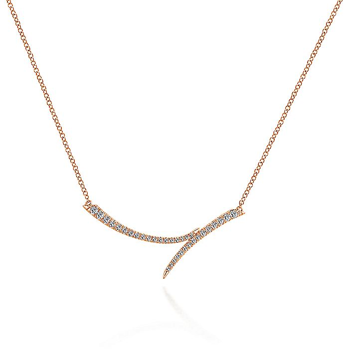 14K Rose Gold Curved Bypass Bar Necklace with Diamonds
