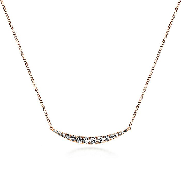 14K Rose Gold Curved Diamond Bar Necklace
