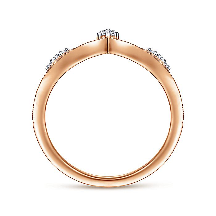 14K Rose Gold Curved Diamond V Ring