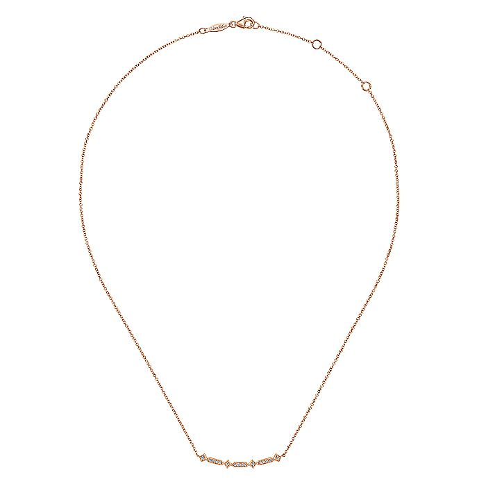 14K Rose Gold Curved Geometric Diamond Bar Necklace