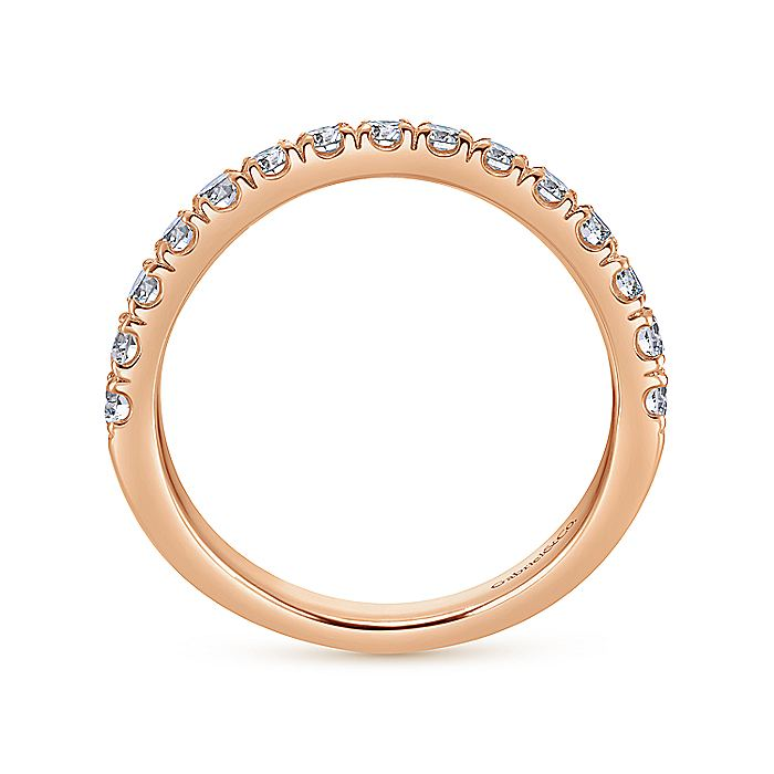 14K Rose Gold Curved Matching Diamond Wedding Band