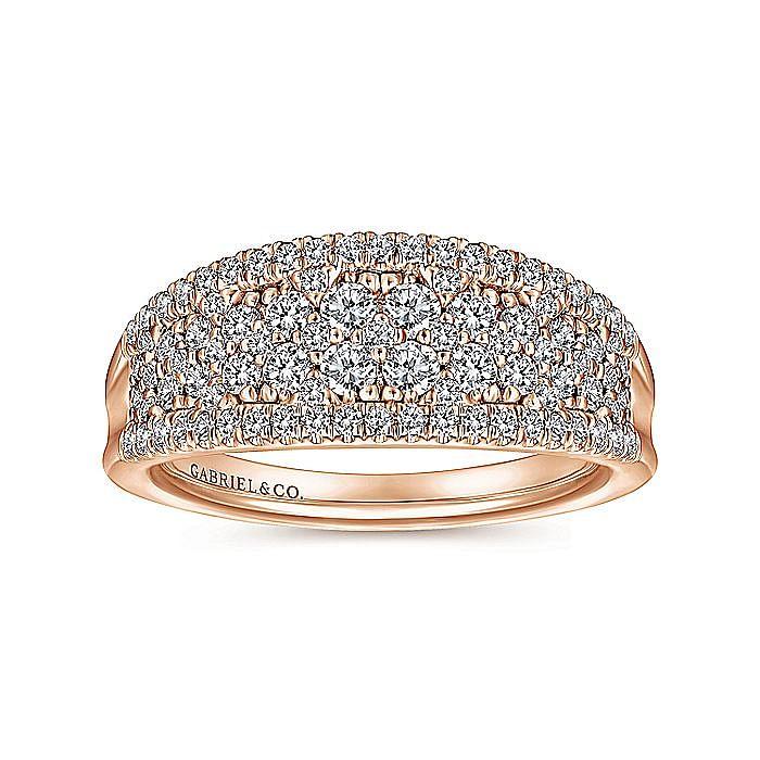 14K Rose Gold Curved Pavé Diamond Ring