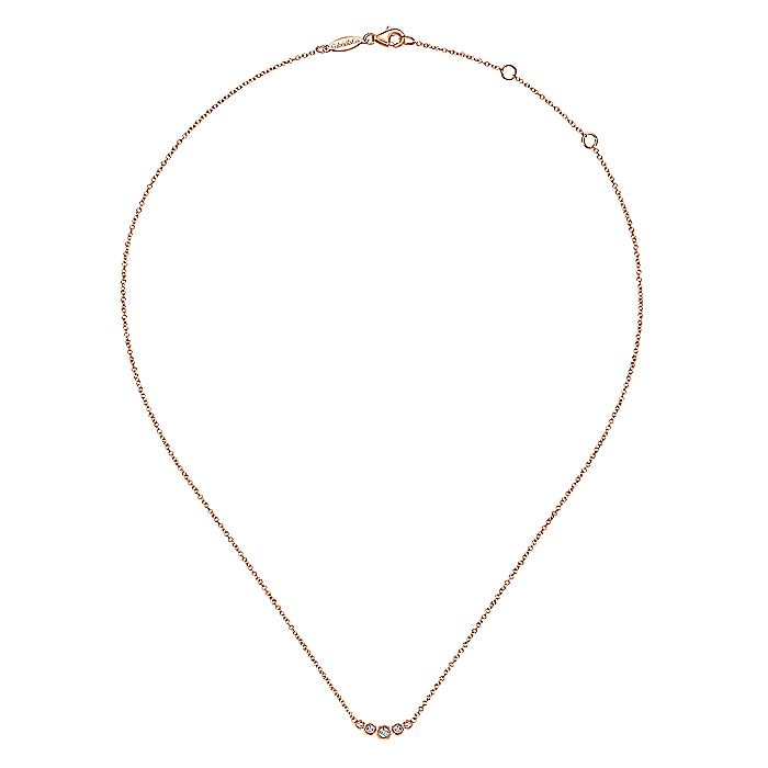 14K Rose Gold Curved Round Diamond Bar Necklace