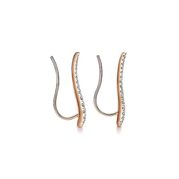 14K Rose Gold Curving Bar Ear Crawler Diamond Earrings