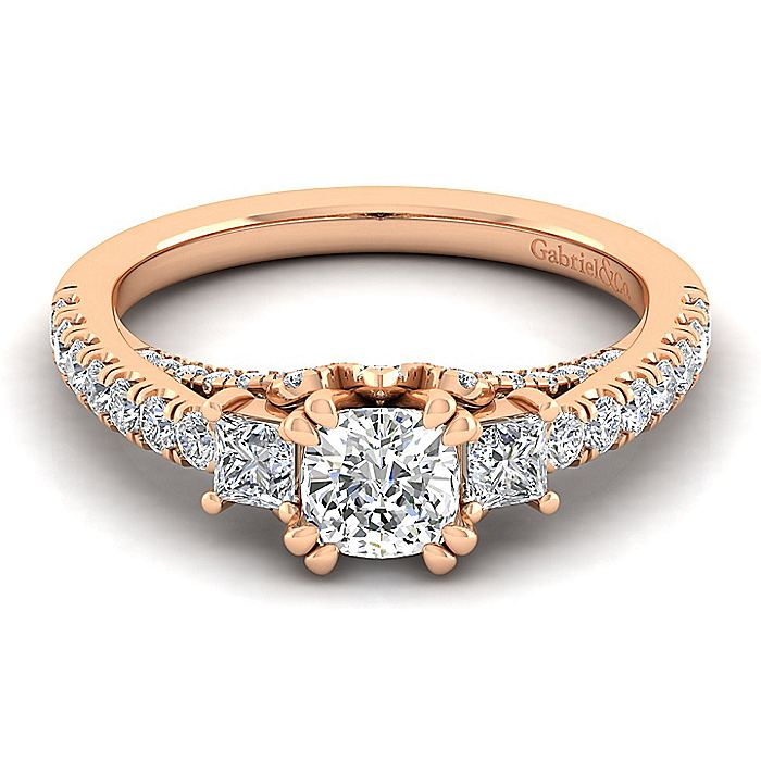 14K Rose Gold Cushion Cut Diamond Engagement Ring