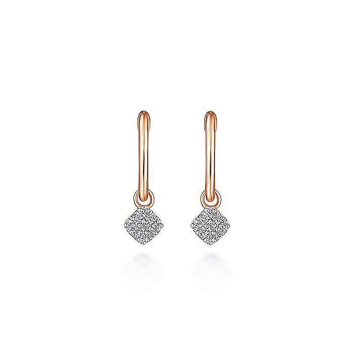 14K Rose Gold Cushion Cut Pavé 10mm Diamond Drop Earrings