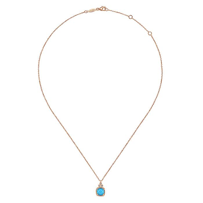 14K Rose Gold Cushion Cut Rock Crystal/Turquoise and Diamond Pendant Necklace