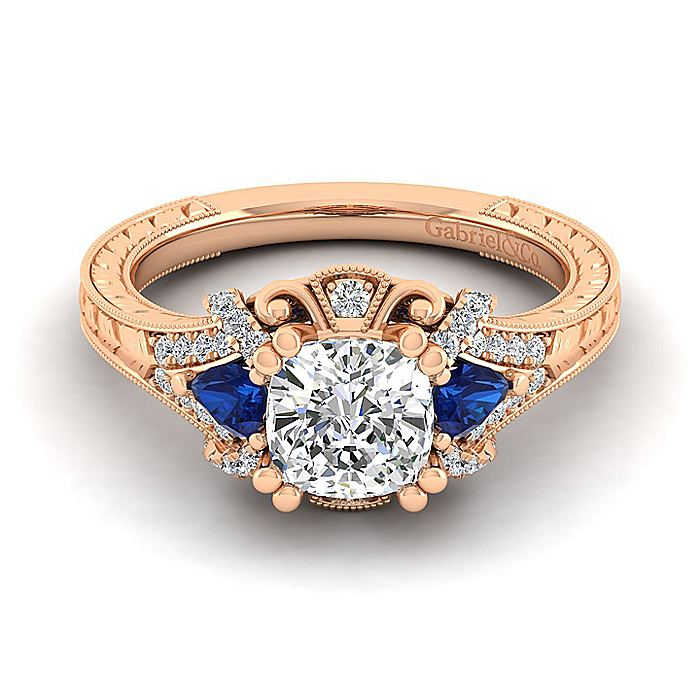 14K Rose Gold Cushion Cut Sapphire and Diamond Engagement Ring