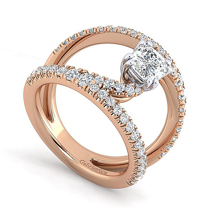 14K Rose Gold Cushion Cut Split Shank Diamond Engagement Ring