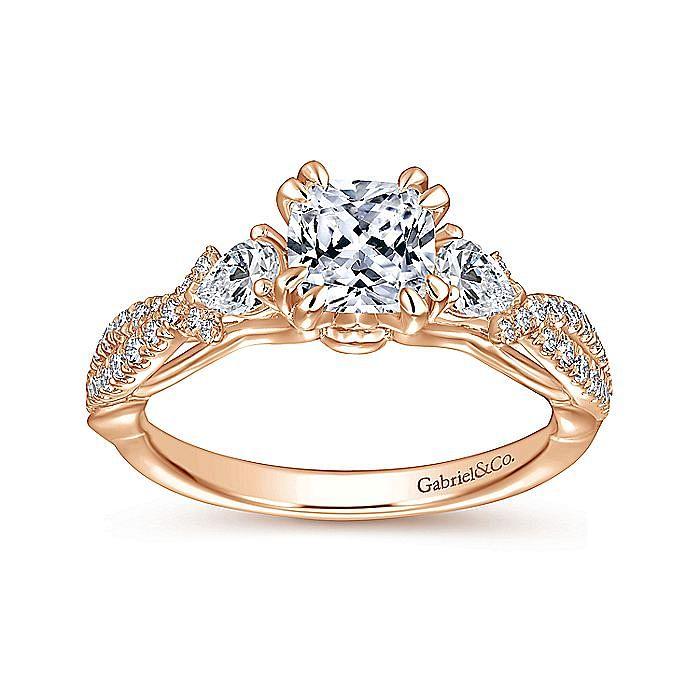 14K Rose Gold Cushion Cut Three Stone Diamond Engagement Ring