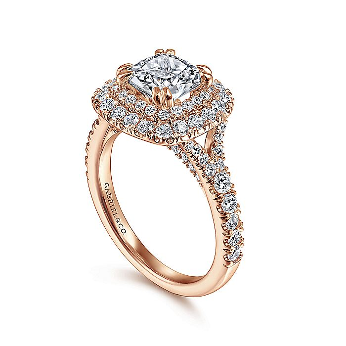 14K Rose Gold Cushion Double Halo Diamond Engagement Ring