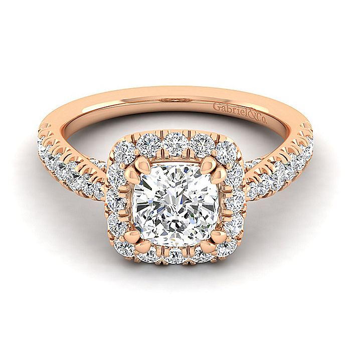 14K Rose Gold Cushion Halo Diamond Engagement Ring