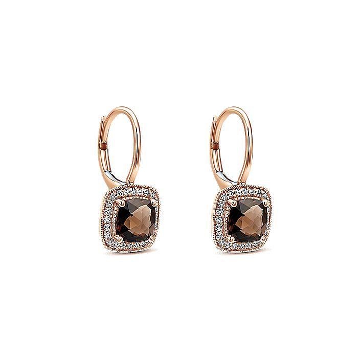 14K Rose Gold Cushion Shape Smoky Quartz Diamond Halo Drop Earrings