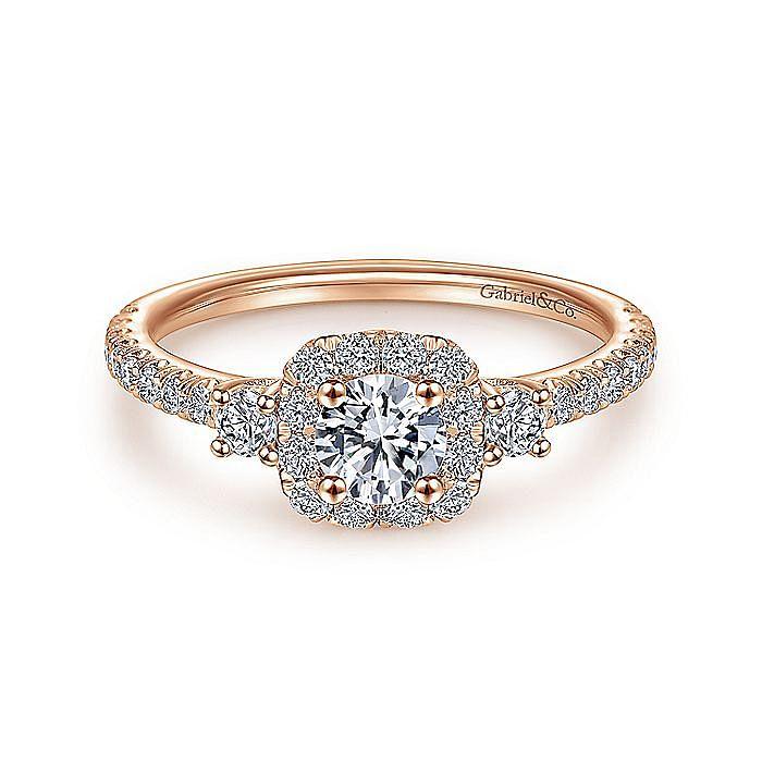 14K Rose Gold Cushion Three Stone Halo Round Diamond Engagement Ring
