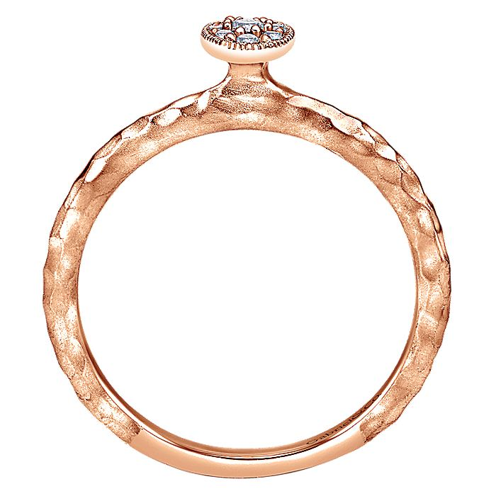 14K Rose Gold Dainty Hammered Ring with Oval Diamond Cluster