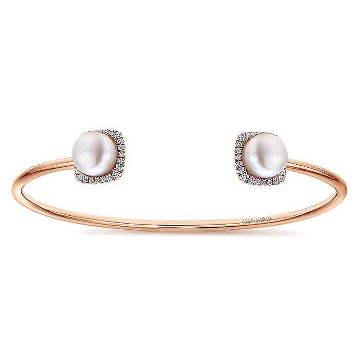 14K Rose Gold Diamond & Cultered Pearl Bangle