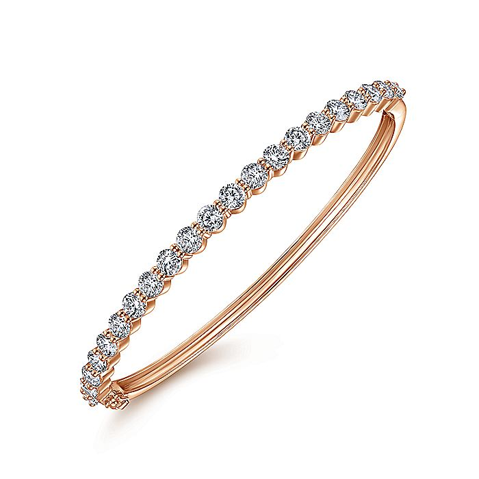 14K Rose Gold Diamond Bangle