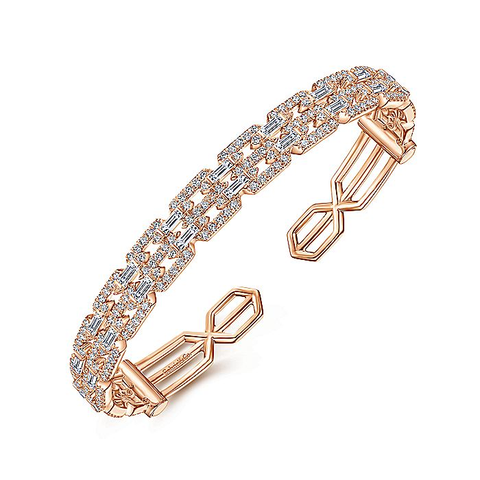 14K Rose Gold Diamond Chain Link Cuff Bracelet with Diamond Baguette Spacers