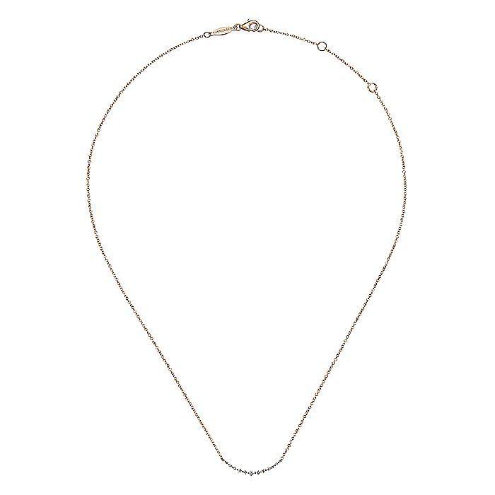 14K Rose Gold Diamond Curved Bar Necklace