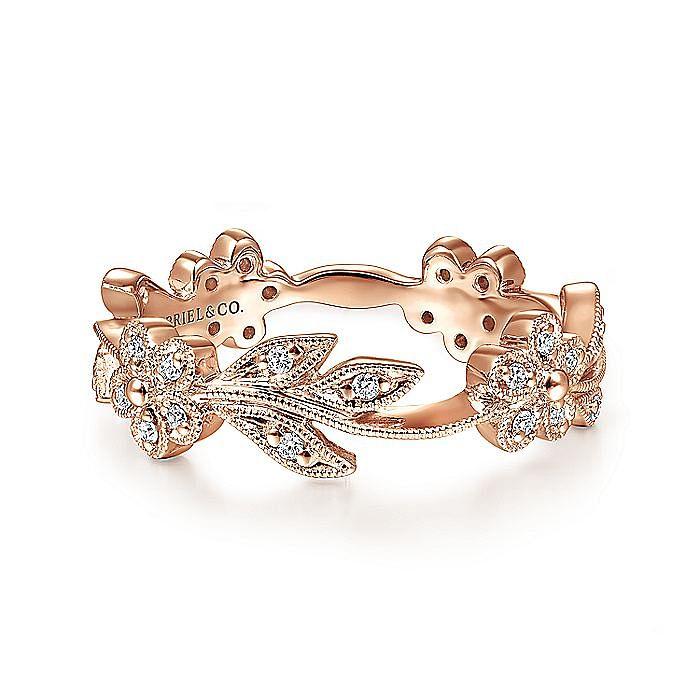 14K Rose Gold Diamond Floral Contoured Stackable Ring