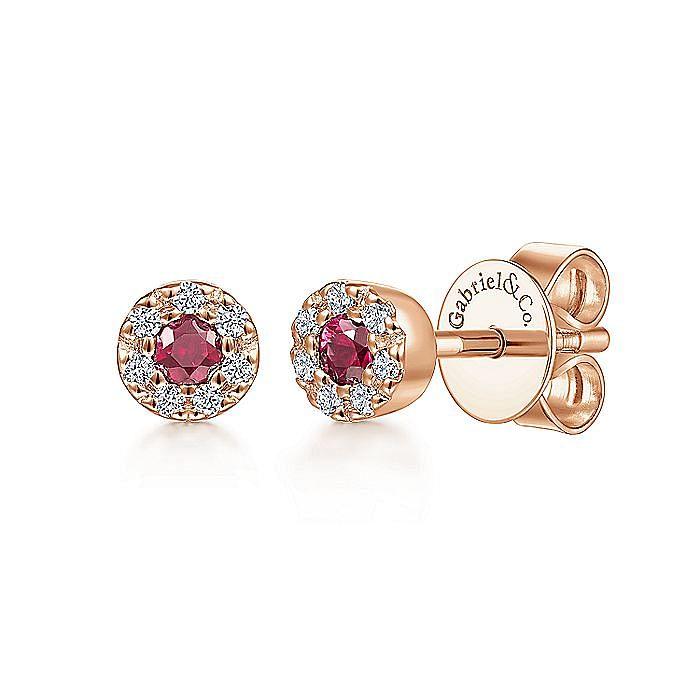 14K Rose Gold Diamond Halo Ruby Stud Earrings