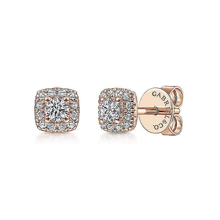 14K Rose Gold Diamond Halo Stud Earrings