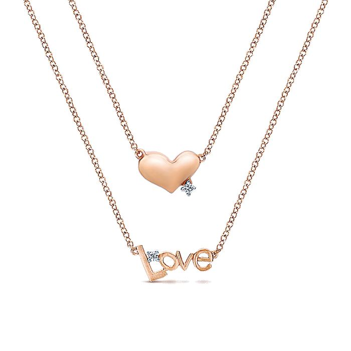 14K Rose Gold Diamond Heart and LOVE Initial Diamond Layered Pendant Necklace